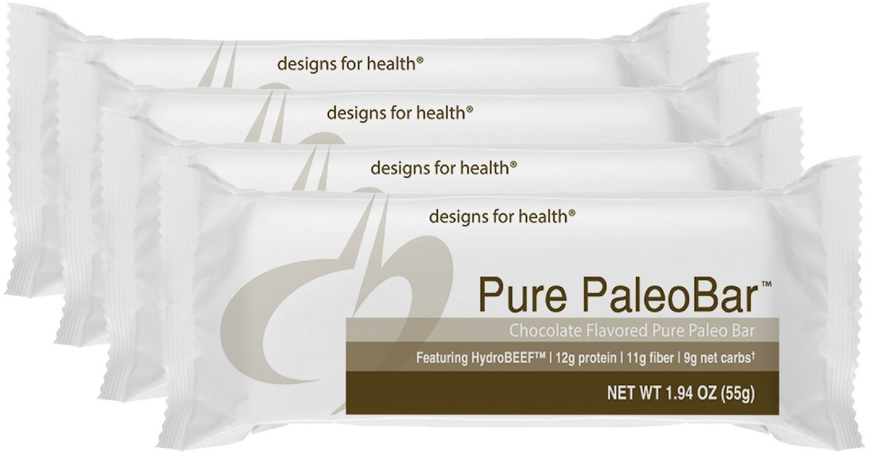Designs for Health - Pure PaleoBar Chocolate - Bone Broth Isolate + Hemp + Pumpkin Seed Protein Bar, 12 Count