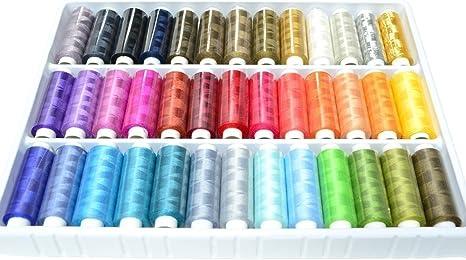 Una caja de 39 colores hilos rollos de 250 metros de colores ...