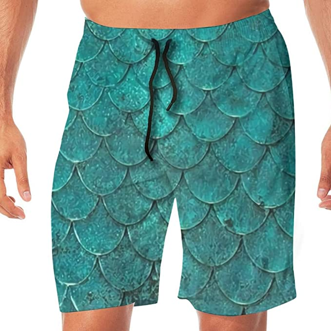 e51a11228d Amazon.com: Men's Swim Trunks Fish Scales Quick Dry Board Shorts Bathing  Suits Swimwear Volley Beach Trunks: Clothing