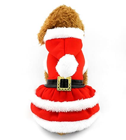 SELMAI Dog Christmas Dress Costume Pleated Skirt Red Dog Coat Pet Hoodies Puppy  Clothes for Girls 761e30ad7b9e