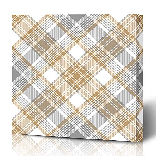 Ahawoso Canvas Prints Wall Art 12x12 Inches Tartan Beige Simple Platinum Gold Diagonal Pattern White Abstract Plaid Gray Check Checkered Classic Cross Decor for Living Room Office Bedroom