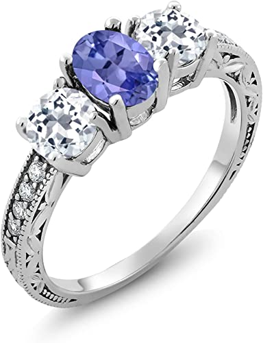 FASHIONABLE 2 CT BLUE TOPAZ ROUND CUT 925 STERLING SILVER RING SIZE 5-10