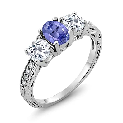 4056172a5c0da Gem Stone King 1.87 Ct Oval Blue Tanzanite and White Topaz 925 Sterling  Silver Women's 3-Stone Ring (Available 5,6,7,8,9)