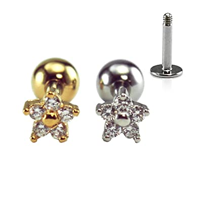 6be058be2 Amazon.com: 16g mini dainty flower cartilage earring, helix earring, conch  earring, tragus ear stud, labret stud, piercing barbell, surgical steel, ...