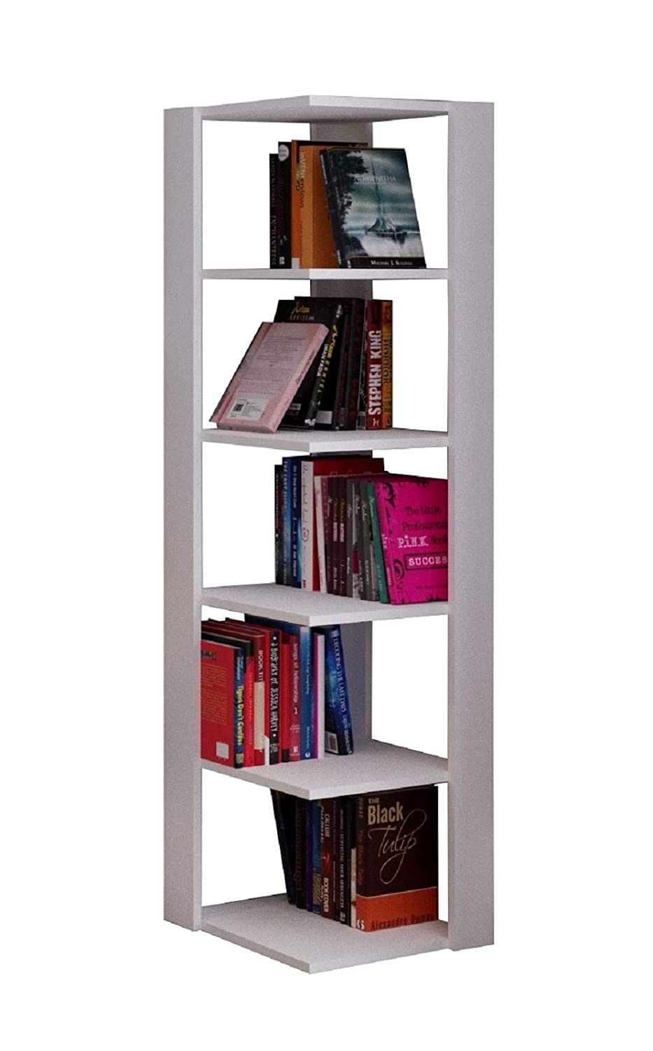 Homidea ANKLE Corner Bookcase - Book Shelf - Free standing Shelving unit for office and living room decoration (White)