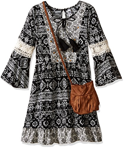Beautees Big Girls' Boho Dress with Purse, Black, 12