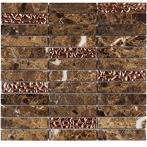 Modket TDH149MO Emperador Dark Brown Marble Stone Mosaic Tile, Rose Gold Glass Inserted Blend Stacked Pattern Backsplash