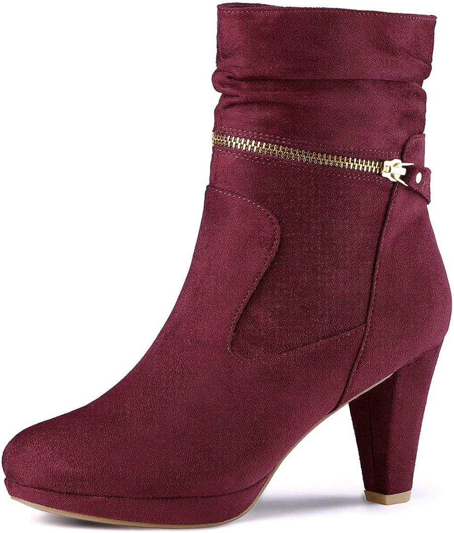 Allegra K Women's Ankle Zip Platform High Heel Mid Calf Boots