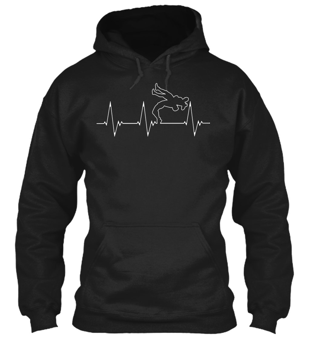 Wrestling Heartbeat Sweatshirt - L - Black - 50% Cotton, 50% Polyester - Gildan 8oz Heavy Blend Hoodie by teespring
