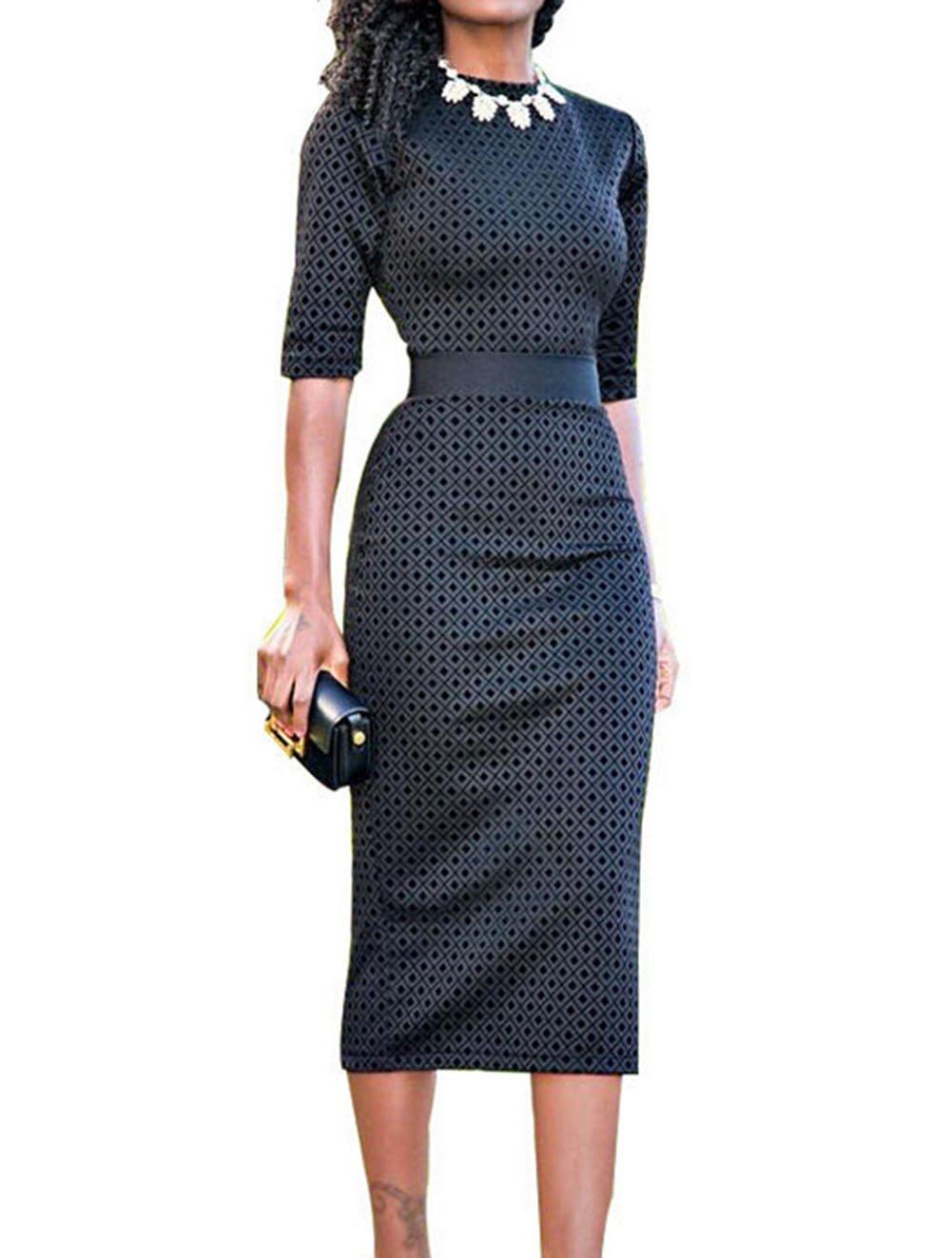 Rui Wen Women Half-Sleeve High Waist Office Formal Bodycon Dress Business (L, Black) by Rui Wen (Image #1)