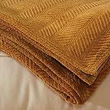 Organic Chenille Throw Blanket - Camel (Medium-weight Organic Cotton) - 46x62 Inches