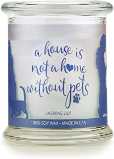 product image for Pet House Sentiments Candle, Natural Soy Wax, Pet Lover Gifts, Non-Toxic, Allergen-Free, Eco-Friendly Candle, Pet Odor Neutralizer, by One Fur All, Jasmine Lilly