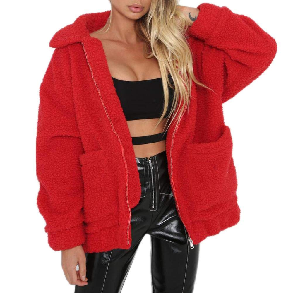 Womens Fashion Long Sleeve Lapel Zip Up Coat with Pockets Warm Winter for Ladies Girl Tang2018 Women Coat