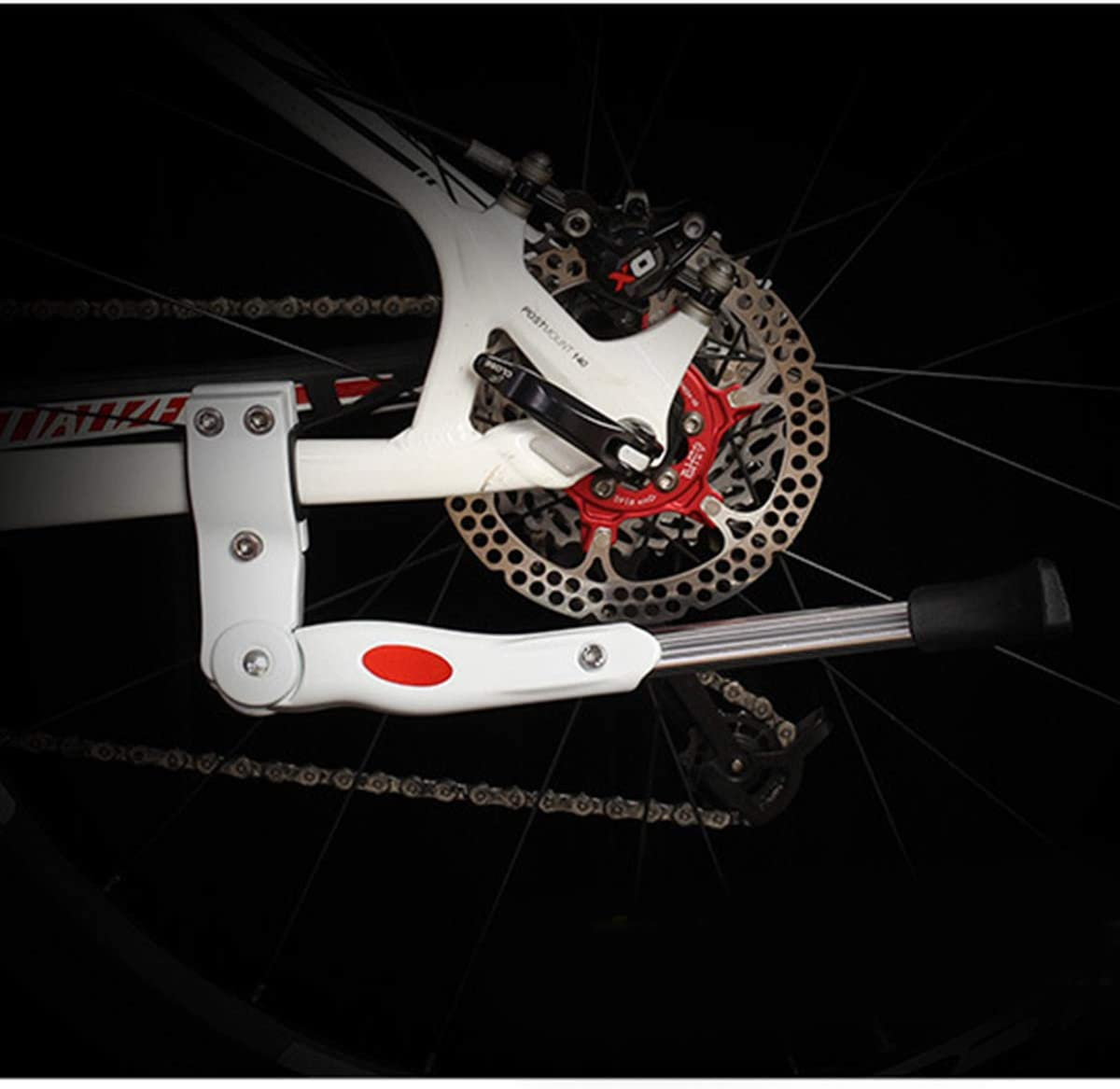 dancepandas Bike Stand Rear Wheel 2PCS Black White Bicycle Kickstand Adjustable Alloy Bike Prop Stand for 24-29 Inch Bicycles