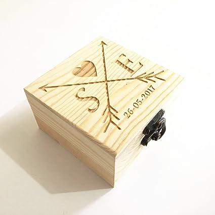 Caja para anillos de boda de madera rústica, personalizable ...
