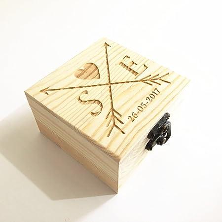 Caja para anillos de boda de madera rústica, personalizable: Amazon.es: Hogar