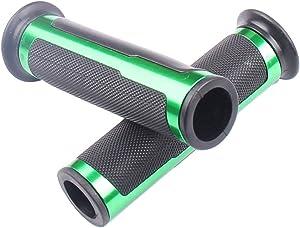"""MotorToGo Green 7/8"""" 22mm Black Aluminum CNC grips for 2009 Kawasaki Ninja ZX6R ZX600R"""