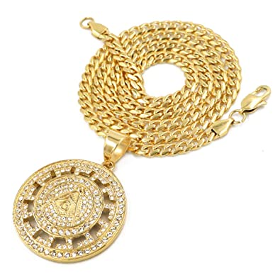 Raonhazae Stainless Steel Silver Iced Freemason Medallion Pendant w//Cuban Chain