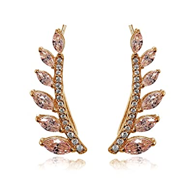17b259071 Image Unavailable. Image not available for. Color: Rose Gold Flashed Sterling  Silver Simulated Morgantie and Cubic Zirconia Leaf Climber Crawler Earrings