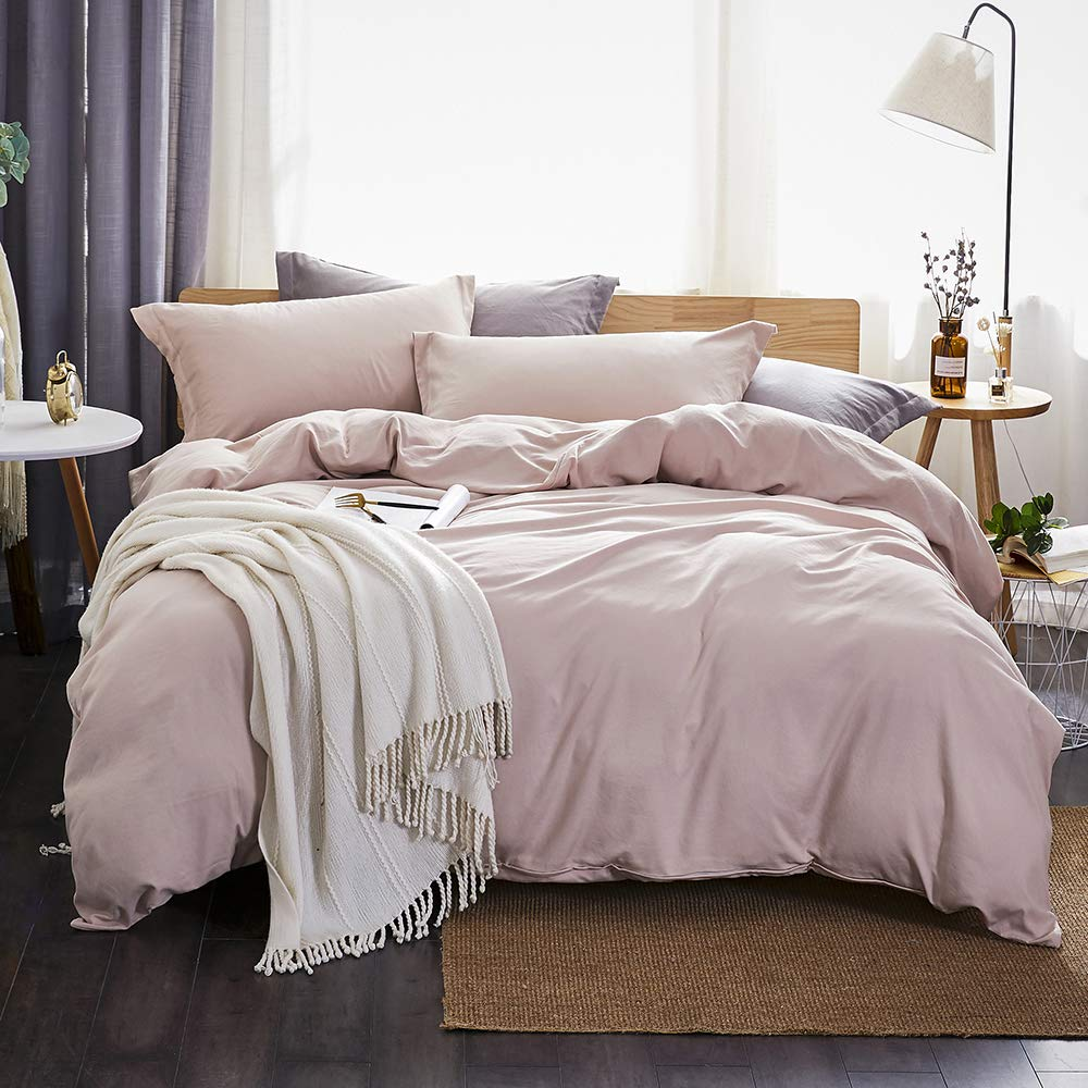 Dreaming Wapiti Duvet Cover Queen,100% Washed Microfiber 3pcs Bedding Duvet Cover Set,Solid Color Soft and Breathable with Zipper Closure & Corner Ties(Pink Mocha,Queen)