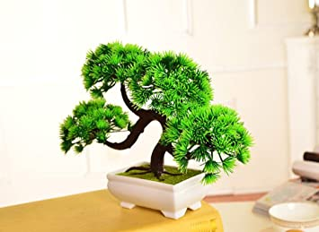 Artificial Bonsai Trees Fake Potted Plants Indoor Evergreen Home Office  Table Feng Shui Greenery Decor (