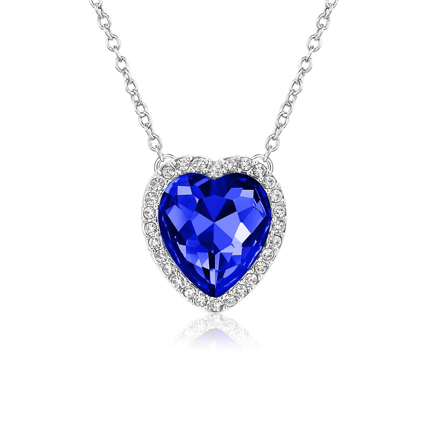 Beyond Love Sapphire September Birthstone Necklace Blue Heart Jewelry Gifts for Women and Girls