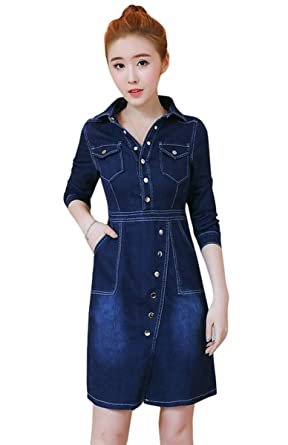 0e6a8daf0d TOPJIN Teen Girls Long Sleeves Slim Fit Casual Denim Overall Dresses One  Piece Jeans Dress  Amazon.co.uk  Clothing