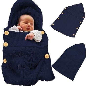Bebé recién nacido Wrap Swaddle Manta para bebé de lana de punto manta de muselina Saco de dormir cálido Sleepsack saco de dormir para 0 - 12 Mes: ...