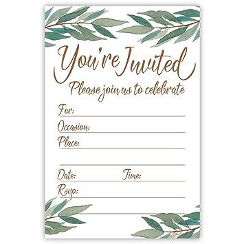 Amazon Com Elegant Watercolor Greenery Fill In Invitations