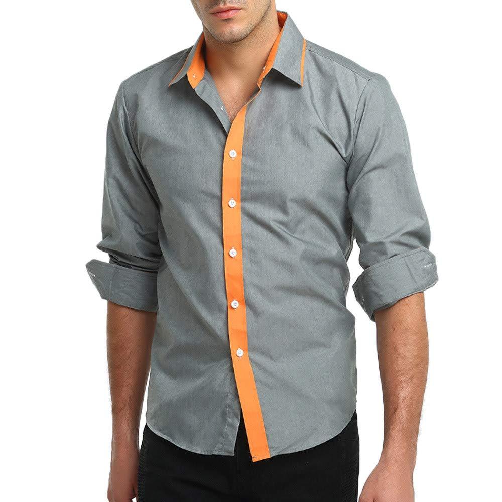 LuckyGirls Camisetas Hombre Manga Larga Personalidad Botón Color de Hechizo Casual Slim Fit Basicas Negocio Camisas Formales