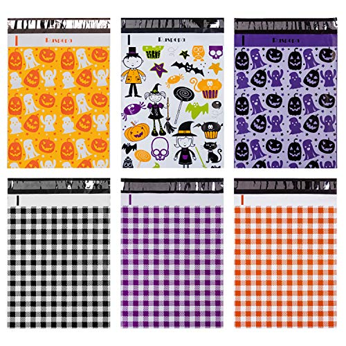 RUSPEPA Poly Mailers 10x13 Halloween Theme 2.3 Mil Multi Design Havy-Duty Shipping Bags Self Sealing Mailing Envelopes - 60 Pack