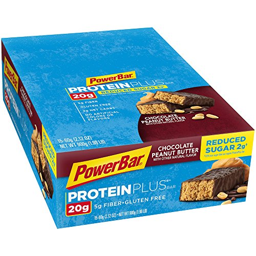 PowerBar Protein Plus Reduced Sugar Bar, Chocolate Peanut Butter, 2.12 oz Bar, (15 Count) (Sugar Chocolate Bar)