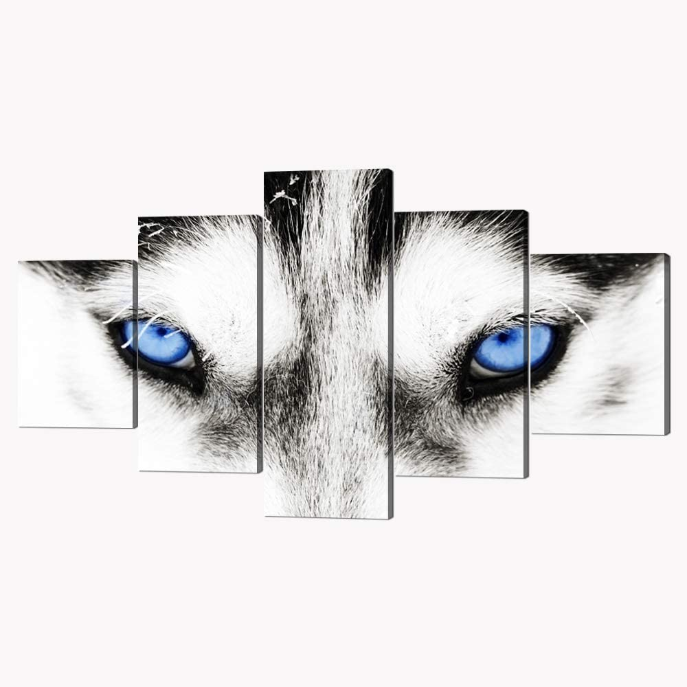 5 Piece Black and White Husky Dog With Blue Eyes Canvas Wall Art Modern Gallery-wrapped Animal Face Prints and Posters Stretched and Framed Ready to Hang for Home and Office Decor - 60''W x 32''H