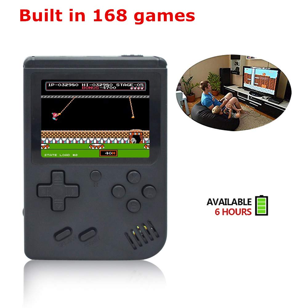BAORUITENG Handheld Game Console, Retro FC Game Console,Video Game Console with 3 Inch 168 Classic Games (Black) by BAORUITENG (Image #4)