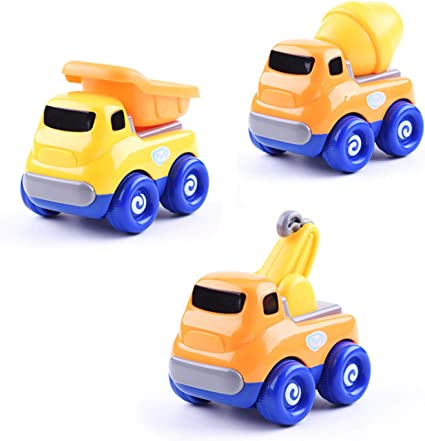 Dump Truck Beville Cartoon Inertia Friction Powered Push and Go Cars for Toddler Boys /& Girls,Set of 3 Pack Kids Early Educational Engineering Vehicles Includes Police Car Random Colors Cartoon Car