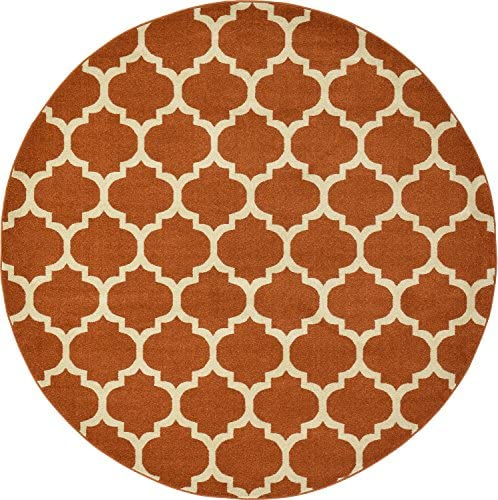 Unique Loom Trellis Collection Moroccan Lattice Light Terracotta Round Rug 8 0 x 8 0