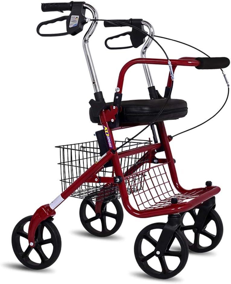 Andadores para Ancianos Carrito de la Compra, de Cuatro Ruedas Asiento, Altura Ajustable, Plegable Ligero (Color : Red)