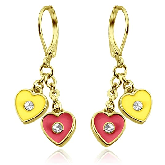Kids Earrings | Two Hearts Dangle Earrings | Hypoallergenic 18k Gold Plated Leverback Earrings for Girls