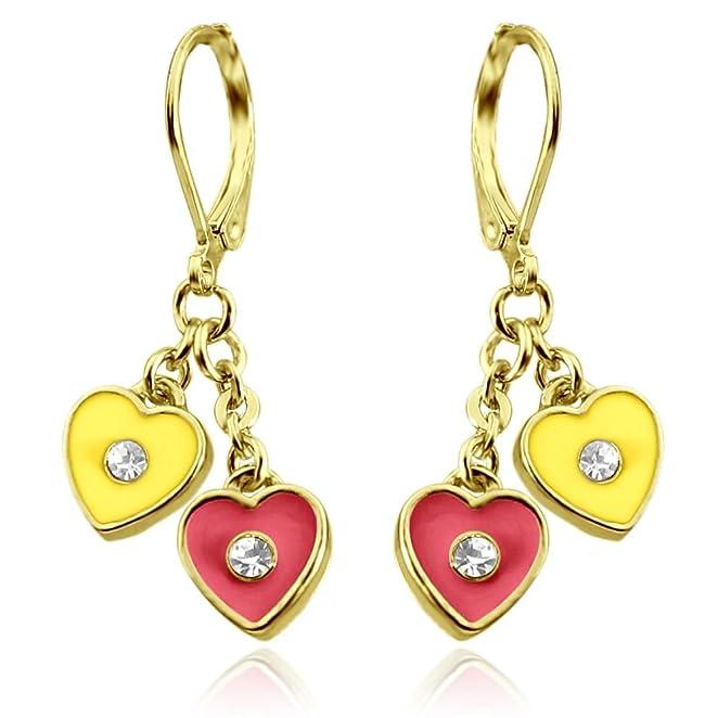 Kids Earrings | Two Hearts Dangle Earrings | Hypoallergenic 18k Gold Plated Leverback Earrings for Girls