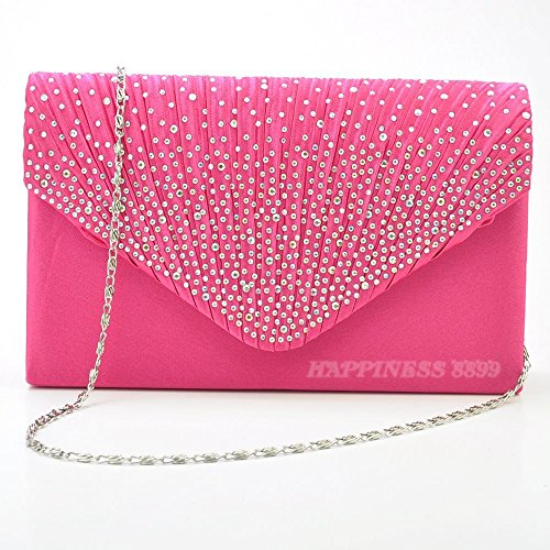 Vintage Prom Evening Hot Ladies Bag Shoulder Satin Bridal Womens pink Envelope Bags Bag Diamante Handbag Fashion Wocharm Wedding Clutch pq68FOnw