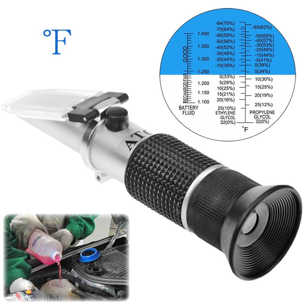 Antifreeze Refractometer Displaying in Fahrenheit for Checking Freezing Point of Automobile Antifreeze Systems and Battery Fluid Condition. Battery Acid, Glycol, Coolant, Antifreeze Tester