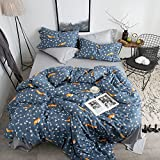 EnjoyBridal Reversible Floral Fox Bedding Cover Sets Twin Bed Cotton Teens Kids Boys Girls Duvet Cover Sets 4 Corners Ties Zipper Closure 3 Pieces Comforter Cover Collection(StyleB, Twin)