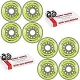 Labeda Inline Roller Hockey Skate Wheels Union Yellow 80mm Set of 8 Bones Swiss