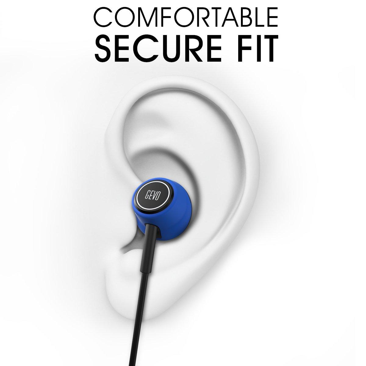 GEVO GV6 Ergo-fit estéreo Música auriculares in-ear con micrófono (Control en línea para IOS/Android, micrófono integrado, manos libres, auriculares de ...