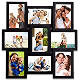 Hello Laura - 9 Opening 18'' x 18'' inch Wall Hanging Photo Frame, 4 x 6 inch Photo Sockets x 9, Black Frame Edge | Gallery Style
