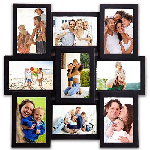 Hello Laura - 9 Opening 18'' x 18'' inch Wall Hanging Photo Frame, 4 x 6 inch Photo Sockets x 9, Black Frame Edge | Gallery Style by Hello Laura