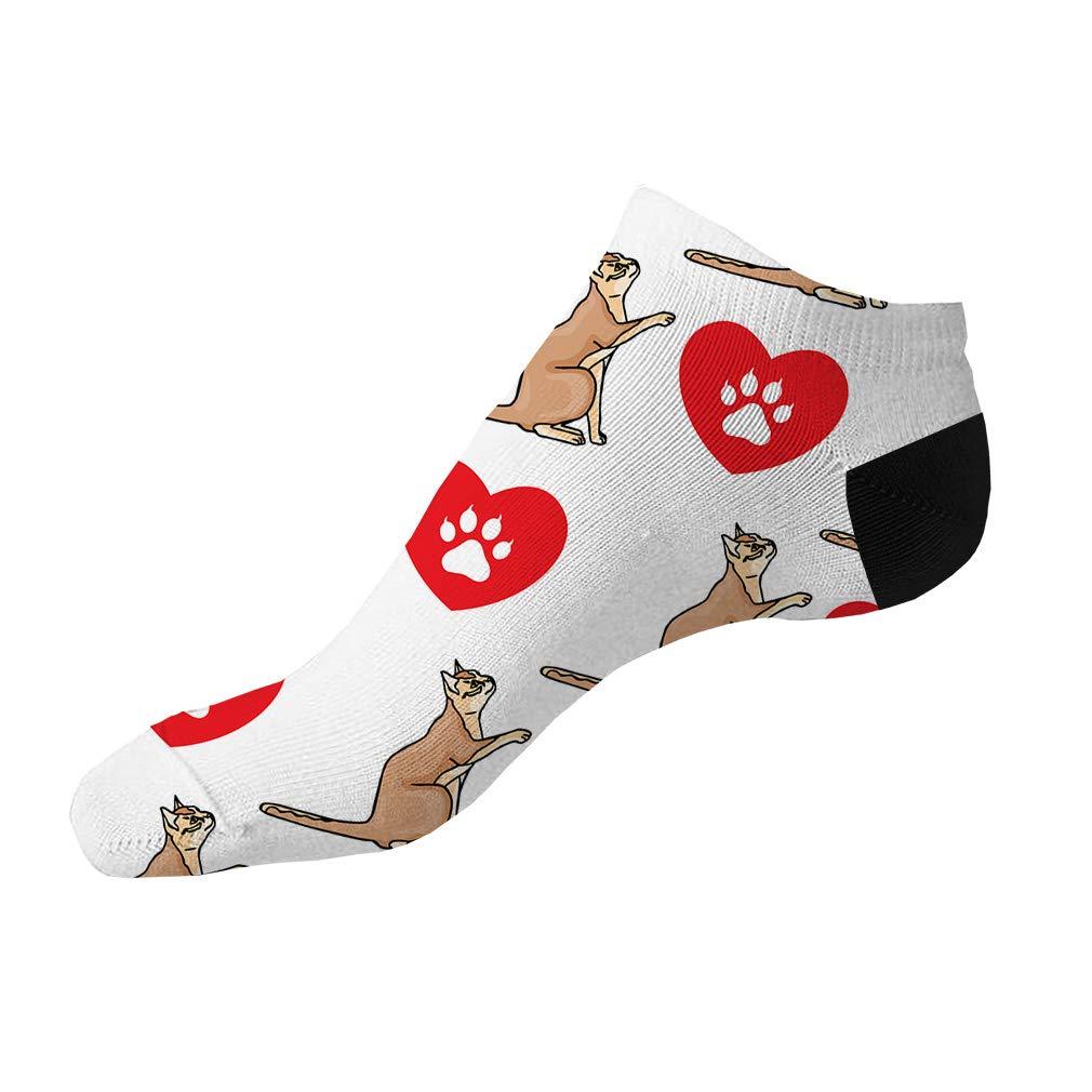 Singapura Cat Heart Paws Pattern #4 Men-Women Adult Ankle Socks