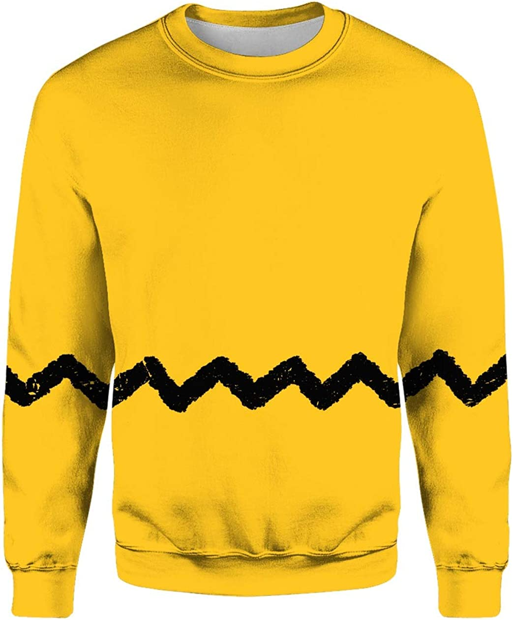 BEE TEE Charlie Brown Yellow Shirt with A Black Zigzag 3D All Over Sublimation Printing Shirt
