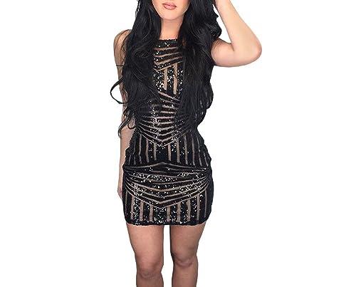Xuan2Xuan3 Women Sexy Sequins Spaghetti Strap Tank Bodycon Club Mini Dress Black