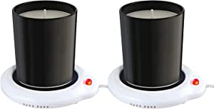 Eutuxia Candle Warmer for Home & Office, Set of 2, Great for Warming Up Cups, Coffee Mugs & Beverages on Desks Tables & Countertops. Electric Heated Plate Warms Quickly, Enjoy Hot Drinks on Cold Days